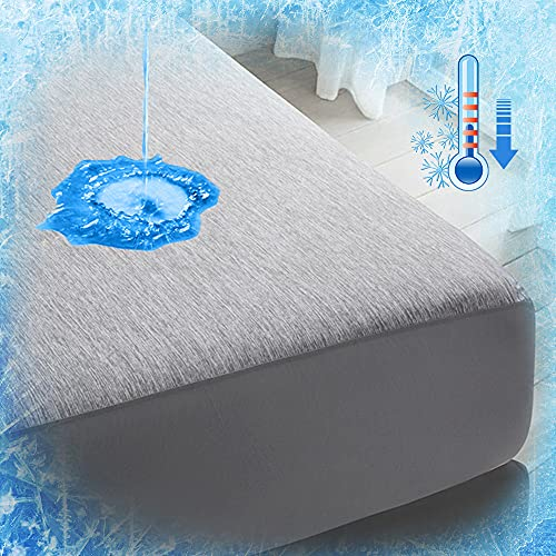 Luxear Cooling Mattress Fitted Sheet, Cold Mattress Protector for Summer with Arc-Chill Technology, Waterproof Mattress Protector Soft for King Size Bed 30cm, 152 x 203cm, Grey