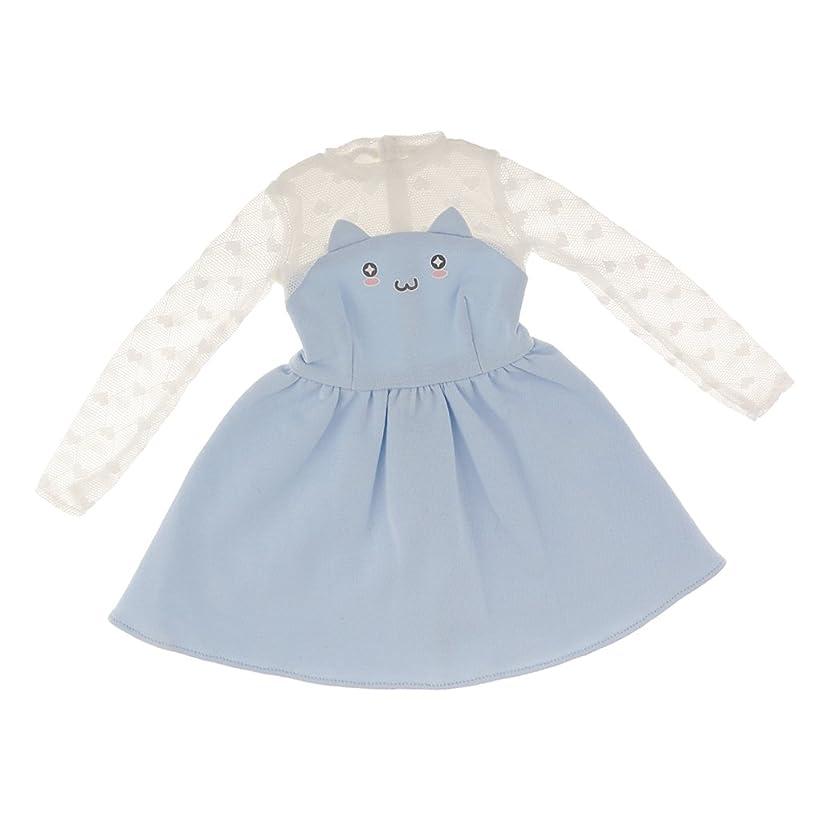 粘り強いロマンスぼろ人形ドレス 可愛い 猫の顔柄 ニット レース袖 スカート 1/3 BJD SDドール適用 服装 ブルー