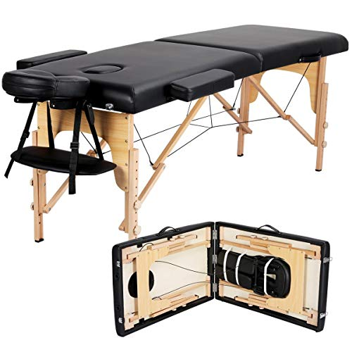 Yaheetech Pro Portable Massage Table Lightweight Folding Facial Spa Bed Tattoo Beauty Therapy Couch Bed w/Carry Bag Black Wooden 2 Sections