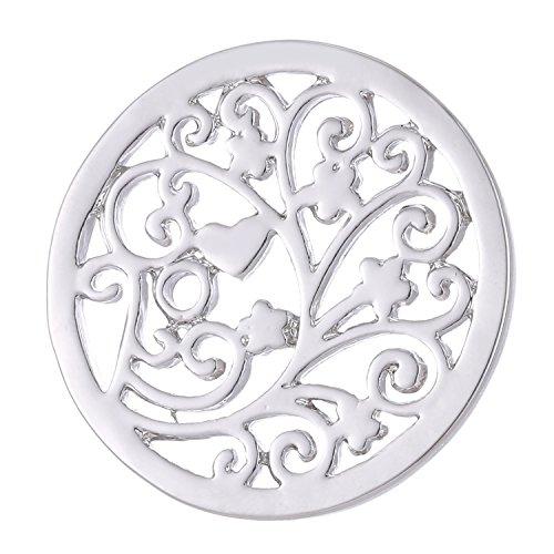 Morella Damen Coin 33 mm Frühlingsblumen Silber