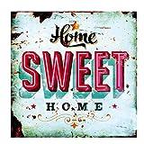 LB H&F Blechschild Blech Schild Metallschild Nostalgie Retro Home Sweet Home türkis 30x30 cm Gross...