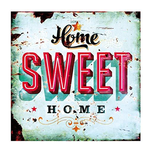 LB H&F Blechschild Blech Schild Metallschild Nostalgie Retro Home Sweet Home türkis 30x30 cm Gross (Home)
