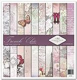 ITD Collection - Paquete de álbumes de recortes de 30,5 x 30,5 cm, papel de recortes, decoupage, papel de decoración, papel para hacer tarjetas, tamaño 310 x 320 mm (SLS002) (French Chic)