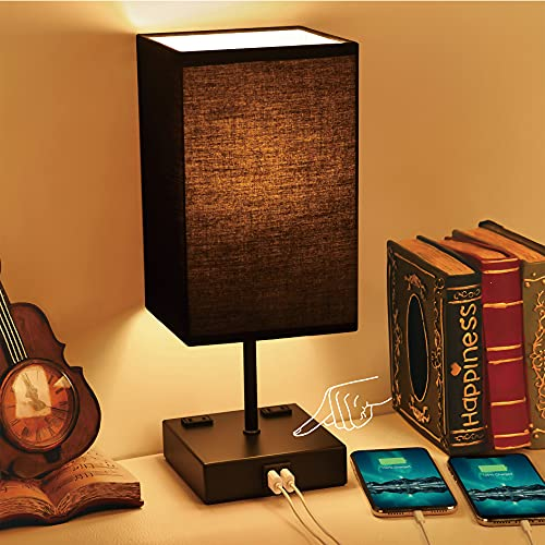 Touch Control Bedside Lamp Black, Sailstar 3 Way Dimmable...