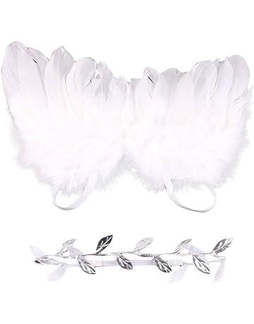 c09d56c5ab627 QIAONAI 天使に変身 ベビー 撮影小道具 天使の羽+ヘアバンド 二点セット
