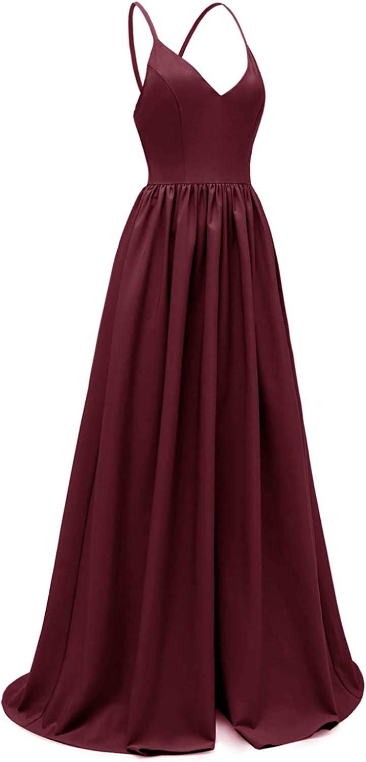 Women V Neck Long Dress Sexy Backless Sleeveless Evening Prom Formal Mermaid Gowns