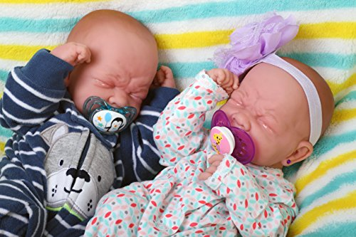 "Reborn Baby Crying Twins Boy and Girl Preemie with Beautiful Accessories Anatomically Correct Washable Berenguer 14"" inches Real Realistic Soft Vinyl Alive Lifelike Pacifier Doll Super Combo Price"