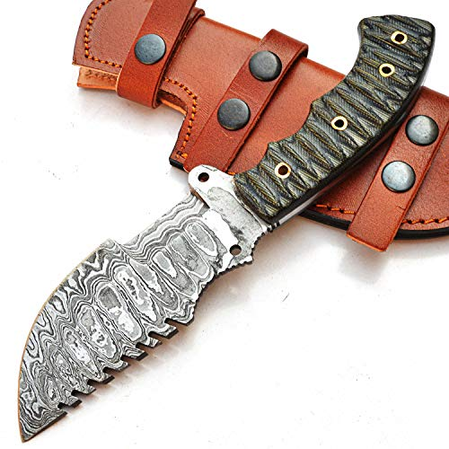 SMGB-9834 10' Handmade Damascus Tracker Knife With Sheath