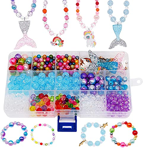 DIY Bead Jewelry Making for for Kids Girls with Mermaid Starfish Shell Charms DIY Beading Necklace Bracelet Ring Hair Braids Jewelry Supplies Gift Craft Kit 500pcs+