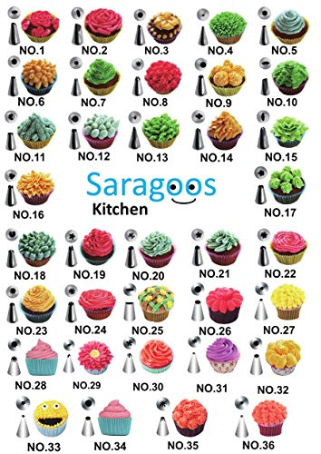 Saragoos-Kitchen Cake Decorating Supplies 42 Frosting Piping Tips 2 Silicone Frosting Bags, Baking Supplies, Cake Decorating Kit, Icing Pen, 20 Disposable Piping Bags, Storage Case