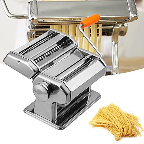 EINFEBEN Nudelmaschine, Edelstahl Pasta Maker, 7 Einstellbare Dicke, Pastamaschine mit 2 Schneiden, für Spaghetti Lasagne Nudeln