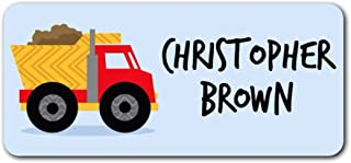 Personalized Name Labels - Cute Customized Designs for Both Babies and Kids - Great for School and Daycare - Easy-to-Apply Stickers Have a Glossy Finish – Waterproof - 48 ct. (Dumptruck)
