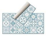 Alfombra Vinílica Hidráulica (80 x 40 cm, Azul) - Distintos Colores y tamaños - Alfombra Cocina, baño, salón Comedor - Antideslizante - Alfombra Dormitorio - Goma esponjosa y Suelo PVC