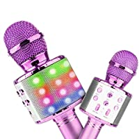 4tunate カラオケマイク ワイヤレスマイク 高音質 ポータブルスピーカー 無線マイク ワイヤレス Bluetooth ノイズキャンセリング (purple)
