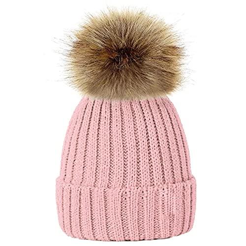 Encantador niño Mujer Gorros Sombreros cálido Invierno pompón de Punto Gorros Mujeres bebé niñas niño pompón Sombrero esquí Nieve Gorra-a23