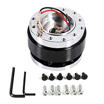 Quick Release Steering Wheel Kit 6 Hole Quick Release Steering Wheel Hub Adapter Snap Off Boss Kit   Color   Black