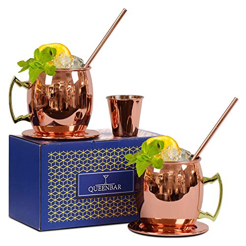 Moscow Mule Copper Mugs - Set of 2 -16 oz Copper Plated Stainless Steel Moscow Mule Cups, Mirror Polished Wine Cups with Cocktail Copper Straws, Coasters, Shot Glass and Lining!