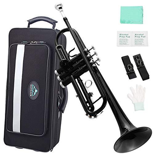 EastRock Black Trumpet Brass Standard Bb Set for Student Beginner, Brass Instrument with Hard Case, Gloves, 7C Mouthpiece, Trumpet Cleaning Kit(Black)