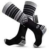 Ski Socks 2-Pack Merino Wool, Non-Slip Cuff for Men & Women - Black,L/XL