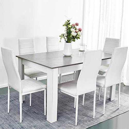 Juego de mesa de comedor de madera gris de lujo con 6 sillas de cuero sintético