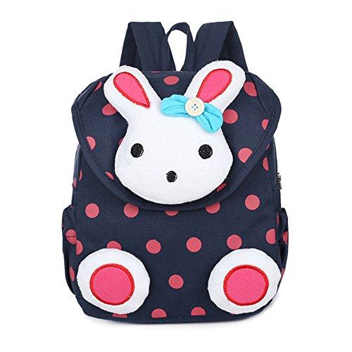 MCUILEE Süß Kaninchen Mini Rucksack Kinder Babyrucksack Kindergartenrucksack Backpack Schultasche Kleinkind Mädchen Jungen,Dunkelblau