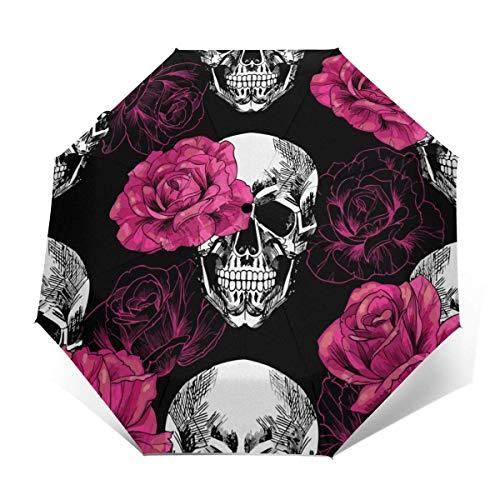 Automatischer dreifach gefalteter Regenschirm Schützen Sie Sonnenschutz Robuste winddichte leichte Regenschirme Pink Roses Skull