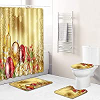 バスルームの装飾用バスマットトイレ蓋カバーすべり止めマット敷物、サンタクロースの180センチメートルクリエイティブ男性女性と子供のクリスマスのシャワーカーテンセット、 yellow-180~50*80cm
