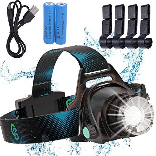 Rechargeable Headlamp, Hard Hat Light – Adults LED Headlamp Flashlight, Perfect Headlamps for Camping, Head Lamps for Adults, Head Flashlight, Lamparas Recargables.by QS USA
