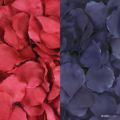 Andaz Press Silk Fabric Rose Petals Table Decorations, Red, Navy Blue, 400-Pack, Colored Nautical 4th of July Wedding Baby Bridal Shower Classroom Party Supplies