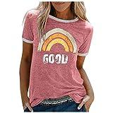 Camiseta de verano para mujer, monocolor, parte superior de arco iris, manga corta, informal, cuello redondo, camisa para mujer, adolescente y niña Rosa. XXL