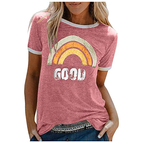 TWIFER Damen Good T-Shirt Regenbogen Muster Kurzarm Tops Rundhals Kurzarmshirt Oberteile Sommer Sunshine Oben Hemd Tops Bluse