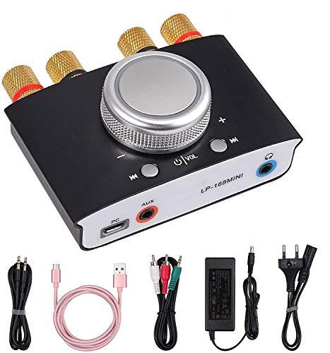eSynic 12V 5A DC Bluetooth Amplificador 2 CH 50w Radio Pórtatil Amplificador de Potencia de Alta Fidelidad con Entrada AUX/USB/Bluetooth para PC, Teléfono, Cocina, Casa