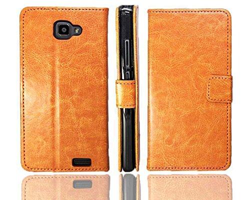 caseroxx Handy Hülle Tasche kompatibel mit Archos 50 Neon Bookstyle-Hülle Wallet Hülle in braun