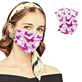 50PCS Disposable Face Masks,3 Ply Breathable Safety Mask with Elastic Earloop,Disposable Mouth Face Cover for Adults (Pink Butterfly)