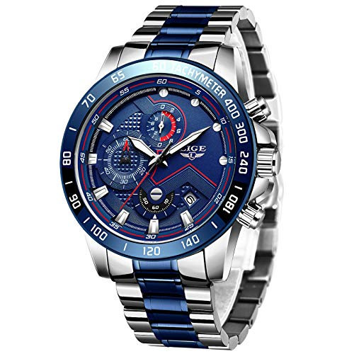 Relojes para Hombres,LIGE Acero Inoxidable Cronógrafo Deportivo Relojes analógico de Cuarzo Impermeable Fecha Moda Casual Lujo Relojes de Pulsera Oro Plata
