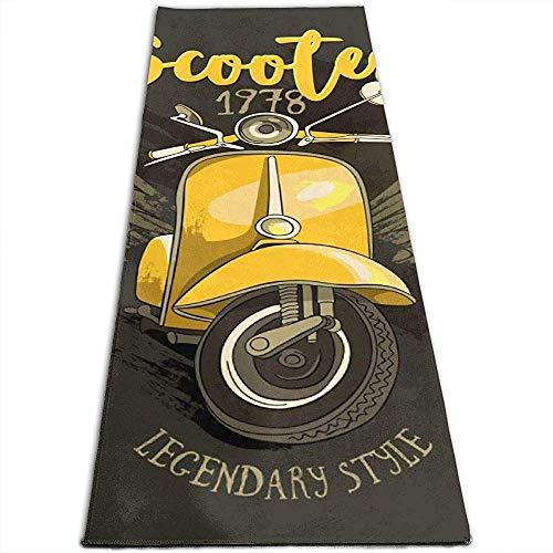 Ogden Yoga-Matte mit Mesh Bag Emblem eines Vintage Yellow Scooter mit Slogan auf dunklem Hintergrund Microfiber Thick Yoga Mat für Hot Yoga, Pilates und Fitness