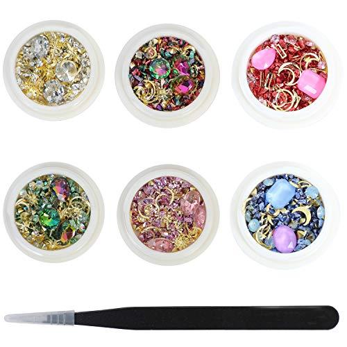 Arte de uñas mixto diamantes diamantes cristales perlas gemas para decoración DIY accesorios Swarovski para uñas oro metal Stud Nail Art Sharp y pinzas 6 cajas
