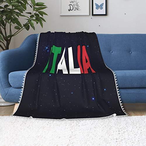 BB&YYY Italia Flag Italian Fleece Throw Blanket with Pom Pom Fringe Winter Novelty Flannel Blanket for Sofa Chair Dorm