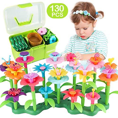 CENOVE Blumengarten Spielzeug für Mädchen, DIY Bouquet Sets Geschenk für 3-6 Jährige Mädchen, Kunst Blumenarrangement Spielzeug für Kinder(130PCS) (E-130PCS)