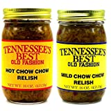 Tennessee's Best Old Fashion Chow Chow Relish (1-Mild and 1-Hot) 2 Pack - 16 oz - All Natural, Gluten-free, Produce in a Jar