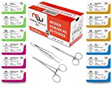 New Mixed Sterile Suture Threads with Needle Plus Training Accessories (Assorted 12 Pack with 3 Tools) - Suture Pads, Practice Suture Kit; Medical, Nursing, Dental, EMT, Medic and Veterinary Students