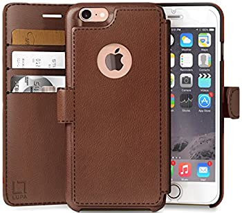 LUPA iPhone 6S Plus Wallet case Durable and Slim Lightweight Vegan Leather Light Brown for Apple iPhone 6s Plus/6 Plus