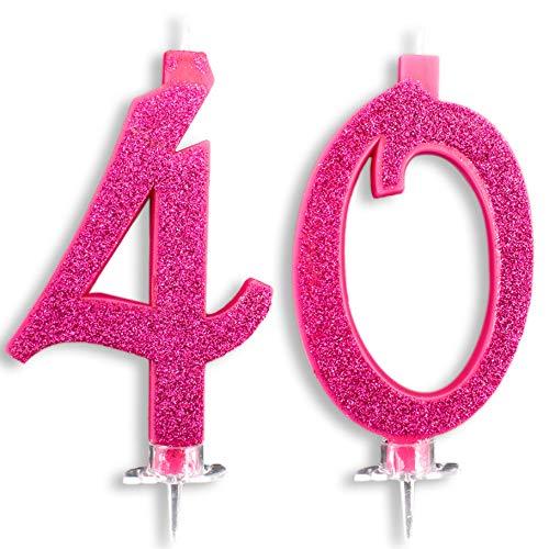 Candeline Maxi 40 Anni per Torta Festa Compleanno 40 Anni | Decorazioni Candele Auguri Anniversario Torta 40 | Festa a Tema | Altezza 13 CM Fucsia Glitter