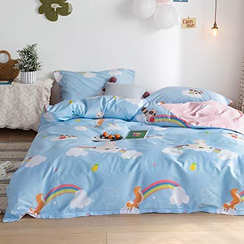 BlueBlue Rainbow Llama Kids Duvet Cover Set Queen, 100% Cotton Bedding for Boys Girls Teens, Cartoon...