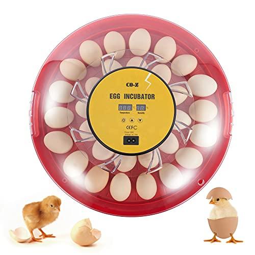CO-Z Brutmaschine Vollautomatisch Inkubator 30 Eier Hühner Brutapparat Eier Brutgerät Eier Brutkasten mit Feuchtigkeitskontrolle für Eier GeflüGel Enten Hühner (30 Eier)