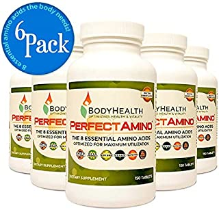 BodyHealth - PerfectAmino (6-Pack) - Amino Acid Supplement Includes BCAAs for Energy, Branched Chain Amino Acid Pills for Pre- and Post-Workout, Vegan Veggie Protein, All 8 Essential Amino Acids