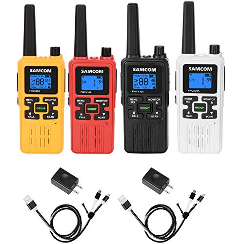 FRS Two Way Radio 22CH, 1250mAh USB Rechargeable Battery LCD Display LED Flashlight, License Free Walkie Talkies Long Range with Group VOX SCAN NOAA Call Alert Function, 4 Packs. Buy it now for 99.99