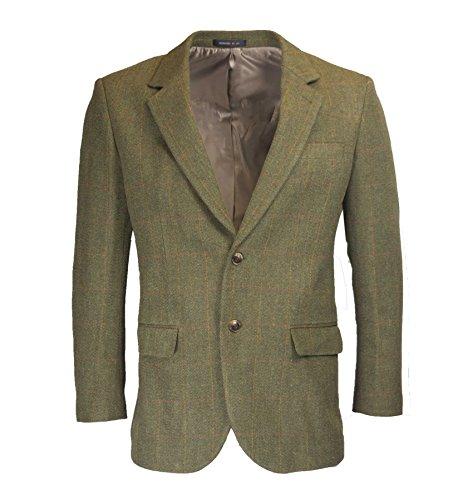 Walker & Hawkes - Herren Country-Blazer - Klassische Jacke aus Windsor-Tweed - Dunkles Salbeigrün - Größe 42