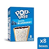 Pop-Tarts, Breakfast Toaster Pastries, Frosted Blueberry, Proudly Baked in the USA,  64 count (Pack of 8, 13.5 oz Boxes)