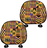 doginthehole 2 Pcs Car Seat Head Rest Cover African Style Car Interior Protector Accessories Dustproof Cover Decoration for All Cars/SUV/Truck